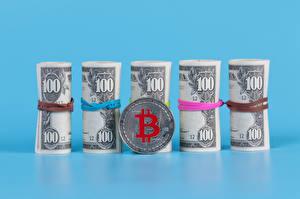 デスクトップの壁紙、、貨幣、紙幣、ドル、Bitcoin、コイン、色の背景、