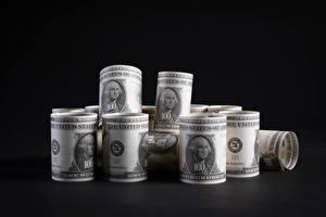 Sfondi desktop Denaro Banconote Dollaro Sfondo grigio