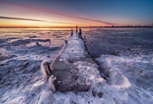 Hintergrundbilder Niederlande Küste Bootssteg Eis Durgerdam