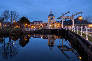 Wallpapers Netherlands Evening Houses Canal Street lights Leiden Cities pictures images