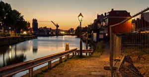 Fotos Niederlande Abend Kanal Straßenlaterne Waterfront Maassluis