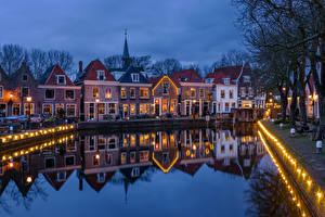 Wallpapers Netherlands Houses Evening Waterfront Spaarndam Cities pictures images