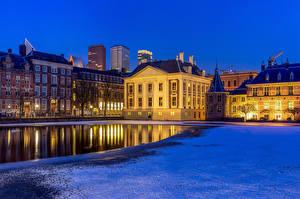 Image Netherlands Houses Pond Street lights The Hague, Hofvijver Cities