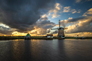 Hintergrundbilder Niederlande Wolke Windmühle Kanal Krommeniedijk Natur