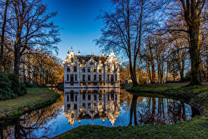 Image Netherlands Parks Pond Castles Trees Reflected Landgoed Staverden Nature