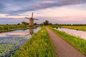 Hintergrundbilder Niederlande Windmühle Kanal South Holland Natur