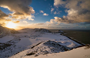 Bilder Norwegen Lofoten Küste Gebirge Wolke  Natur