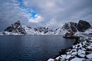 Bilder Norwegen Lofoten Gebirge Küste Wolke  Natur