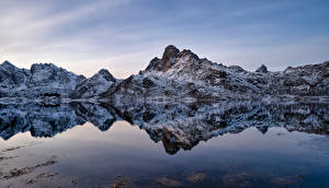 Pictures Norway Lofoten Mountain Reflection  Nature