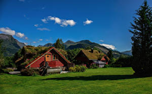 Picture Norway Mountains Houses Summer  Nature