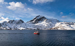 Image Norway Mountain Lofoten Motorboat Sund