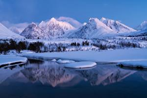 Pictures Norway Mountain Winter Scenery Snow Girls