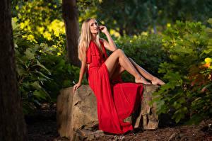 Wallpaper Olga Clevenger Blonde girl Model Sitting Dress Staring Glance Girls