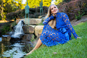Pictures Olga Clevenger Model Blonde girl Grass Sit Frock Streams