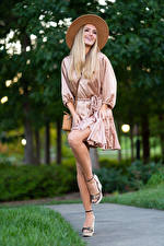 Pictures Olga Clevenger Model Blonde girl Posing Gown Hat Legs Girls
