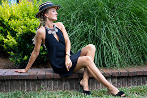 Images Olga Clevenger Model Dress Sit Legs Hat Braid hair