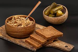 Pictures Porridge Cucumbers Bread Cutting board