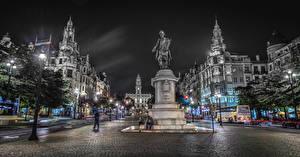 Hintergrundbilder Portugal Porto Denkmal Gebäude Platz Nacht