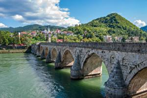 Picture Rivers Bridges Bosnia and Herzegovina Hill Visegrad, Mehmed Pasha Sokolovich Bridge Cities
