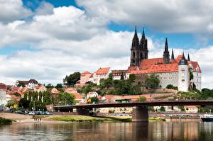 Picture Rivers Bridges Castles Germany Albrechtsburg, Meissen, Saxony, Elbe Cities