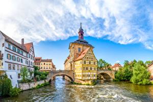 Wallpapers River Bridges Germany Bavaria Bamberg, Upper Franconia Cities