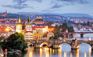 Photo Rivers Bridge Sunrises and sunsets Czech Republic Prague Vltava Cities