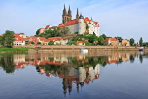 Bakgrunnsbilder Elver Elv Borg Tyskland Åser Saxony, Albrechtsburg Castle, Meissen, Elbe byen