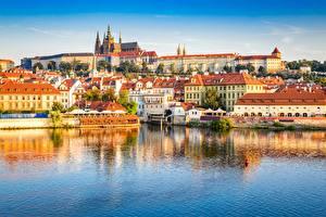 Wallpaper River Castle Prague Czech Republic Prague Castle, Vltava Cities