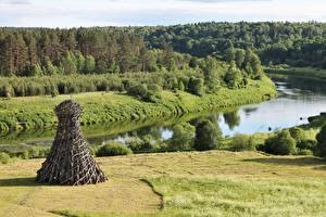 Photo River Forests Park Russia Grass Nikola-Lenivets Park, Dzerzhinsk district, Kaluga Region
