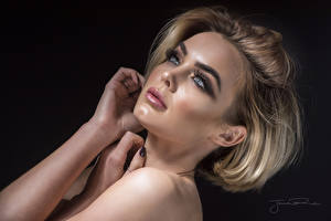 Desktop wallpapers Rosie Robinson Face Makeup Hands Black background Jack Russell young woman