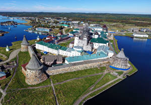 Wallpapers Russia Monastery From above Arkhangelsk Region, Spaso-Preobrazhensky Solovetsky Monastery Cities pictures images