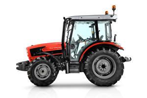 Bakgrunnsbilder Traktorer Rød Sett fra siden Hvit bakgrunn SAME Dorado 100 Natural, 2018