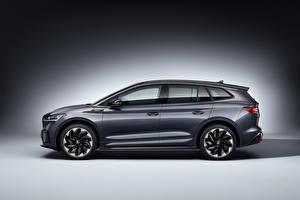Fonds d'écran Skoda Latéralement Grise Métallique Crossover Enyaq Sportline iV, Worldwide, 2021 automobile