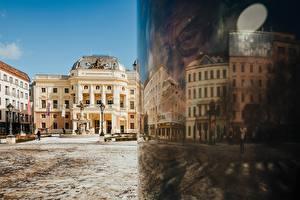 Wallpapers Slovakia Reflection Town square Street lights National Theatre Slovakia, Bratislava Cities