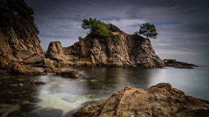 Pictures Spain Coast Cliff Costa Brava Nature