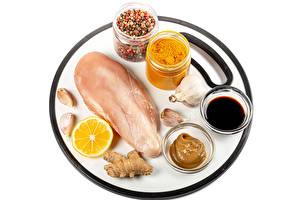 Pictures Spices Black pepper Allium sativum Lemons Chicken as food White background Soya sauce