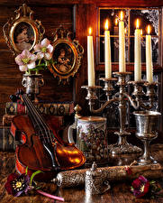 Wallpapers Still-life Anemone Candles Violin Books Flowers