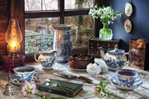 Pictures Still-life Galanthus Kerosene lamp Cakes Jug container Cup Books Food