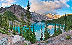 Bilder Steine Gebirge See Parks Kanada Landschaftsfotografie Banff Fichten Alberta Natur