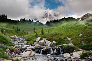 Hintergrundbilder Steine Berg Bäche Gras Hügel Natur
