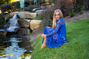 Images Stones Olga Clevenger Gown Dress Grass Sitting Blonde girl Glance Girls