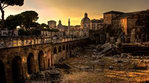 Pictures Sunrise and sunset Rome Italy Ruins Street lights Cities