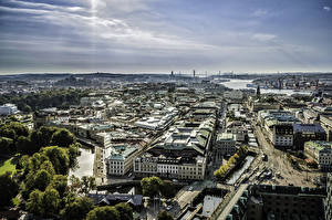 Picture Sweden Houses Horizon Canal From above Gothenburg Cities