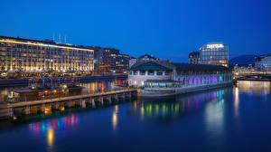 Pictures Switzerland Evening River Pier Houses Geneve Cities