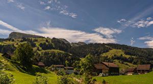 Hintergrundbilder Schweiz Haus Wald Dorf Hügel Wildhaus-Alt St. Johann, Saint Gall Natur