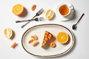 Wallpaper Tea Little cakes Orange fruit Mandarine Lemons White background Cup Plate Fork Spoon Food