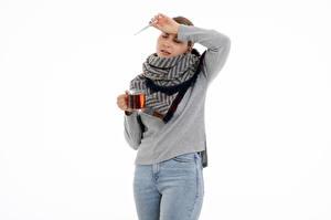 Papel de Parede Desktop Chá Termômetro Caneca Resfriado Fundo branco Meninas