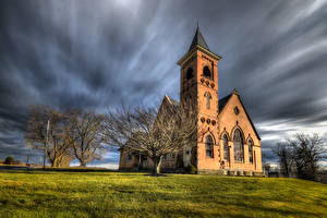 Pictures USA Church Trees HDR Pennsylvania Nature