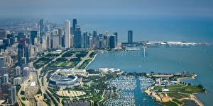 Bilder Vereinigte Staaten Küste Gebäude Wolkenkratzer Chicago Stadt Von oben Adler Planetarium, Shedd Aquarium, Field Museum Städte
