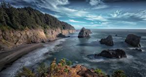 Sfondi desktop USA Litorale Il dirupo Oregon Natura